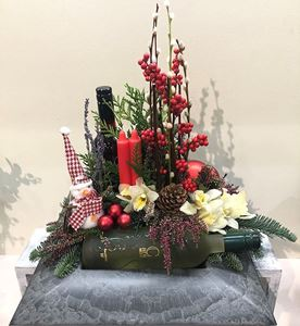 Picture of Christmas Arrangement with 2 Wine Bottles