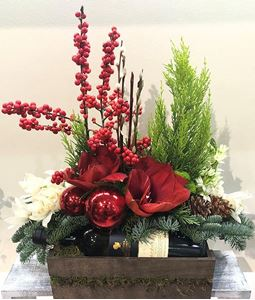 Picture of Christmas Arrangement with a bottle of wine